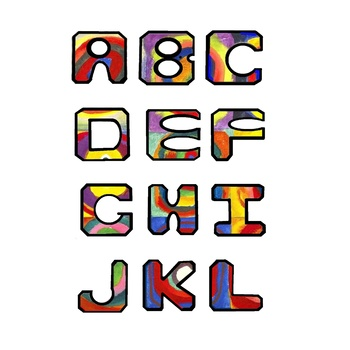 Alphabetical Letters, Kandinsky's Color Study,  Clip Art in PNG and JPG