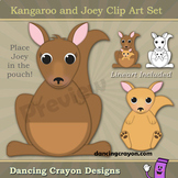Kangaroo Clip Art with Joey in a Pocket Pouch