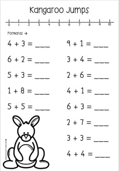 Kangaroo Number Line Addition Questions