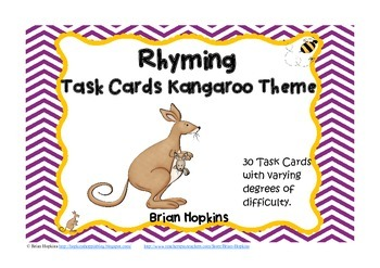 Kangaroo Themed Rhyming Task Cards