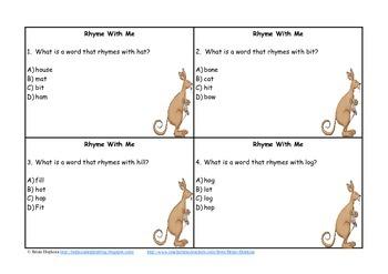 Kangaroo Themed Rhyming Task Cards