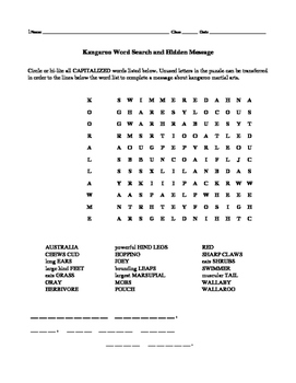 Kangaroo Word Search and Hidden Message
