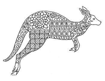 Kangaroo Zentangle Coloring Page