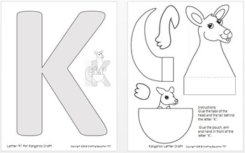 """Kangaroo and Letter """"K"""" Crafts"""