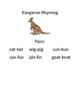 Kangaroo themed Rhyming Activity