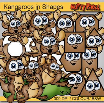 Kangaroos in Shapes - Shapes Clip art