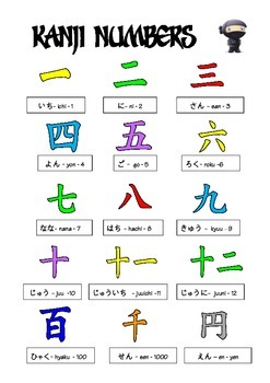 Japanese : Kanji Numbers Poster in B&W and colour 1-12, 100, 1000