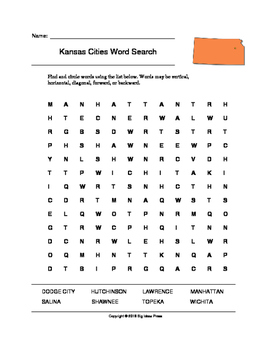 Kansas Cities Word Search (Grades 3-5)