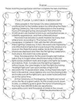 Kansas City's *Plaza Lighting Ceremony* Non-fiction Passage and Activities