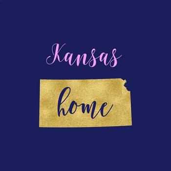 Kansas Clipart, USA State Vector Clipart, Kansas Home, Gold US Clipart