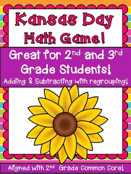 Kansas Day Math Game!  2 and 3 Digit Subtraction and Addition Regrouping  FUN!!!