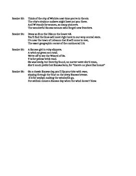 """Kansas Day Reader's Theater Script for """"S is for Sunflower--A Kansas Alphabet"""""""