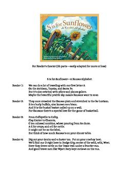"""Kansas Day Reader's Theater Script for """"S is for Sunflower"""