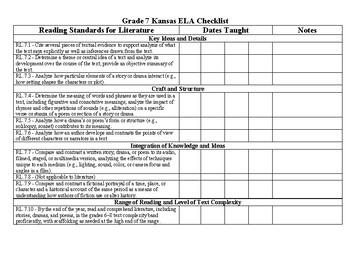 Kansas ELA Standards Tracking Sheet (Grade 7)