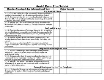 Kansas ELA Standards Tracking Sheet (Grade 8)