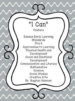 Kansas Early Learning Standards Pre 4 (I Can Posters)