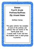 Kansas Fourth Grade Prefixes and Suffixes Zip Around Game