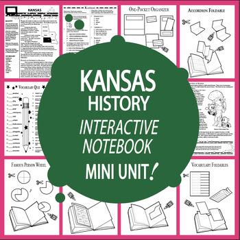 Kansas History–Interactive Notebook Kansas State Study Unit + AUDIO!