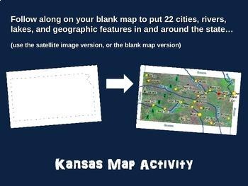Kansas Map Activity- fun, engaging, follow-along 20-slide PPT