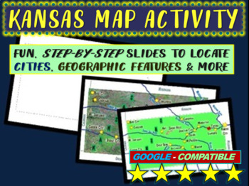 Kansas Map Activity- fun, engaging, follow-along 20-slide PPT
