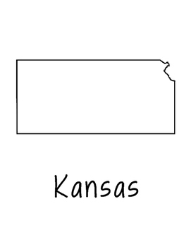 Kansas Map Coloring Page Craft - Lots of Room for Note-Taking & Creativity