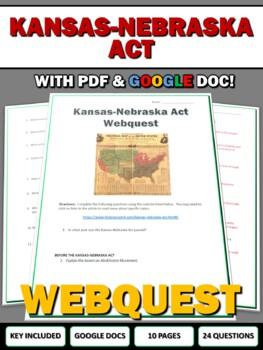 Kansas-Nebraska Act & Bleeding Kansas - Webquest with Key
