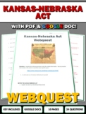 Kansas-Nebraska Act & Bleeding Kansas - Webquest with Key
