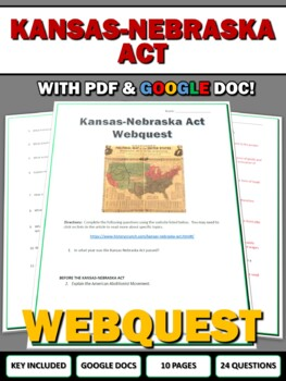 Bleeding Kansas Worksheet: kansasnebraska act bleeding kansas webquest with key by history ,