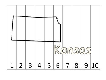 Kansas Number Sequence Puzzle.  Learn the States preschool printable game.