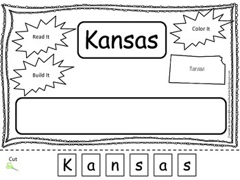 Kansas Read it, Build it, Color it Learn the States preschool worksheet.