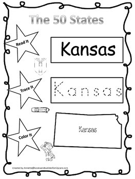 Kansas Read it, Trace it, Color it Learn the States preschool worksheet.