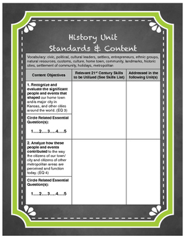 Kansas Social Studies Standards Checklist for Grade 3