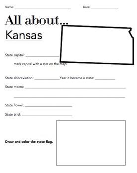 Kansas State Fact Worksheet: Elementary Version