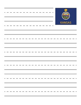 Kansas State Flag Primary Lined Paper