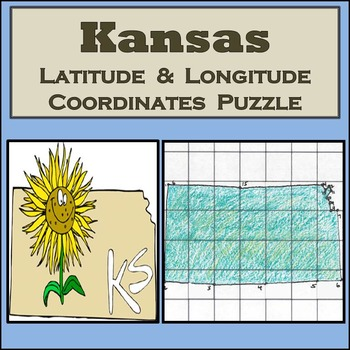 Kansas State Latitude and Longitude Coordinates Puzzle - 16 Pts. to Plot - FREE!