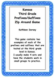 Kansas Third Grade Prefixes and Suffixes Zip Around Game