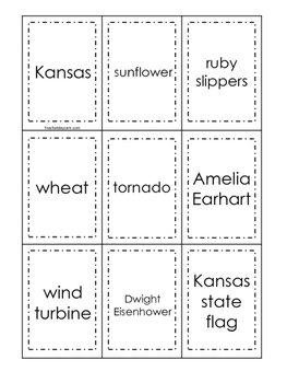 Kansas themed Memory Matching and Word Matching preschool curriculum game.