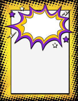 Kapow! Yellow & Purple Superhero Border