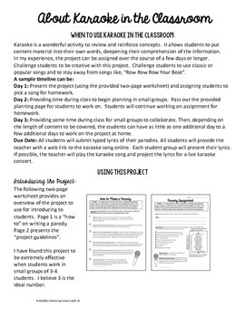 Summative Assessment Project Karaoke Song Parody Project Tpt Song lyrics from theatre show/film are property & copyright of their owners, provided for educational purposes. summative assessment project karaoke song parody project