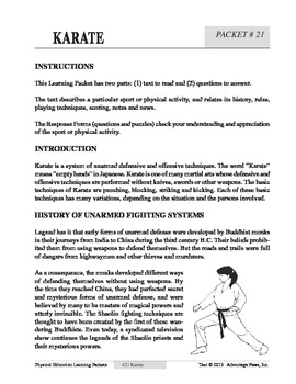 Karate: An Academic Learning Packet
