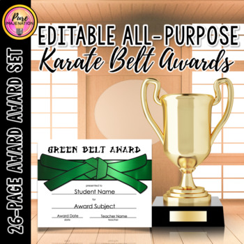 Karate Belt Levels Fully Editable Achievement Award Certificates Any Subject