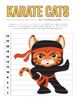 Karate Cat Skip Counting Puzzles - Numbers 2 to 12