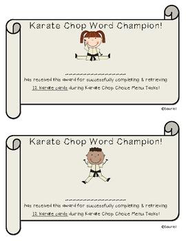 Karate Chop Vocabulary Choice Menu for ELA Literacy Stations & More