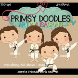 Karate Friends-Dark Hair 300 dpi Clipart