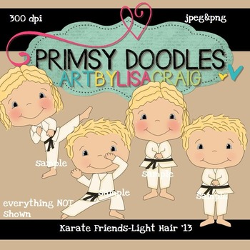 Karate Friends-Light Hair 300 dpi Clipart