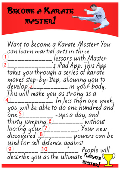 Karate Fun Madlibs