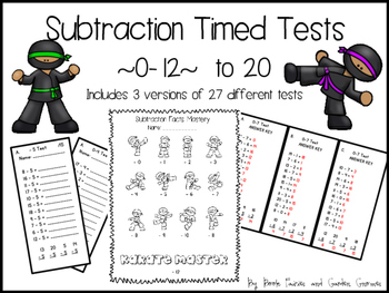 Karate Subtraction Timed Tests ~0 to 12~