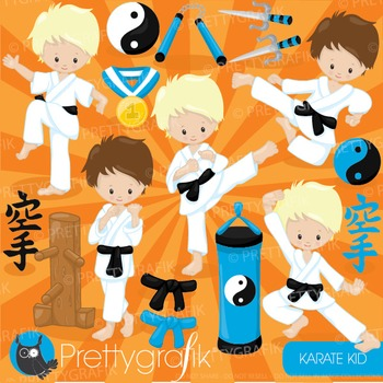 Karate kid clipart commercial use, graphics, digital clip art - CL881