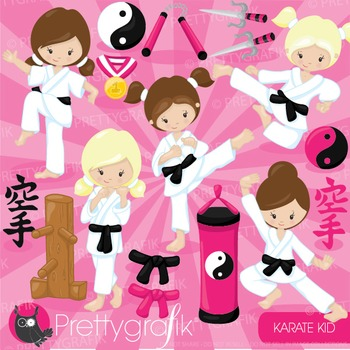 Karate kid clipart commercial use, graphics, digital clip art - CL882