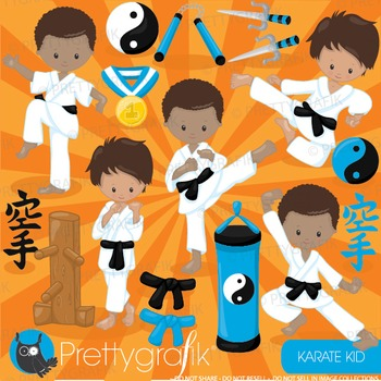 Karate kid clipart commercial use, graphics, digital clip art - CL886